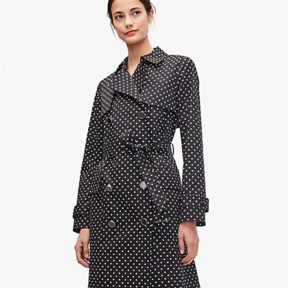 Kate Spade Dot Trench Coat, Size M, Black & White, Polka Dot